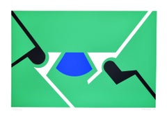 Green Shapes - Original Screen Print by Renato Barisani - 1983