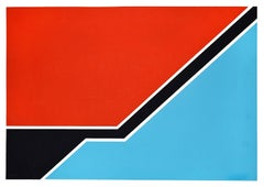 Sky Blue and Red Composition - Original Screen Print by Renato Barisani - 1977