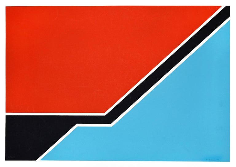Sky Blue And Red Composition is an original mixed colored serigraph realized by Renato Barisani in 1977  The artwork is hand-signed and dated in pencil by the artist on the lower right. Numbered on lower left. Edition of 68/99.  Good