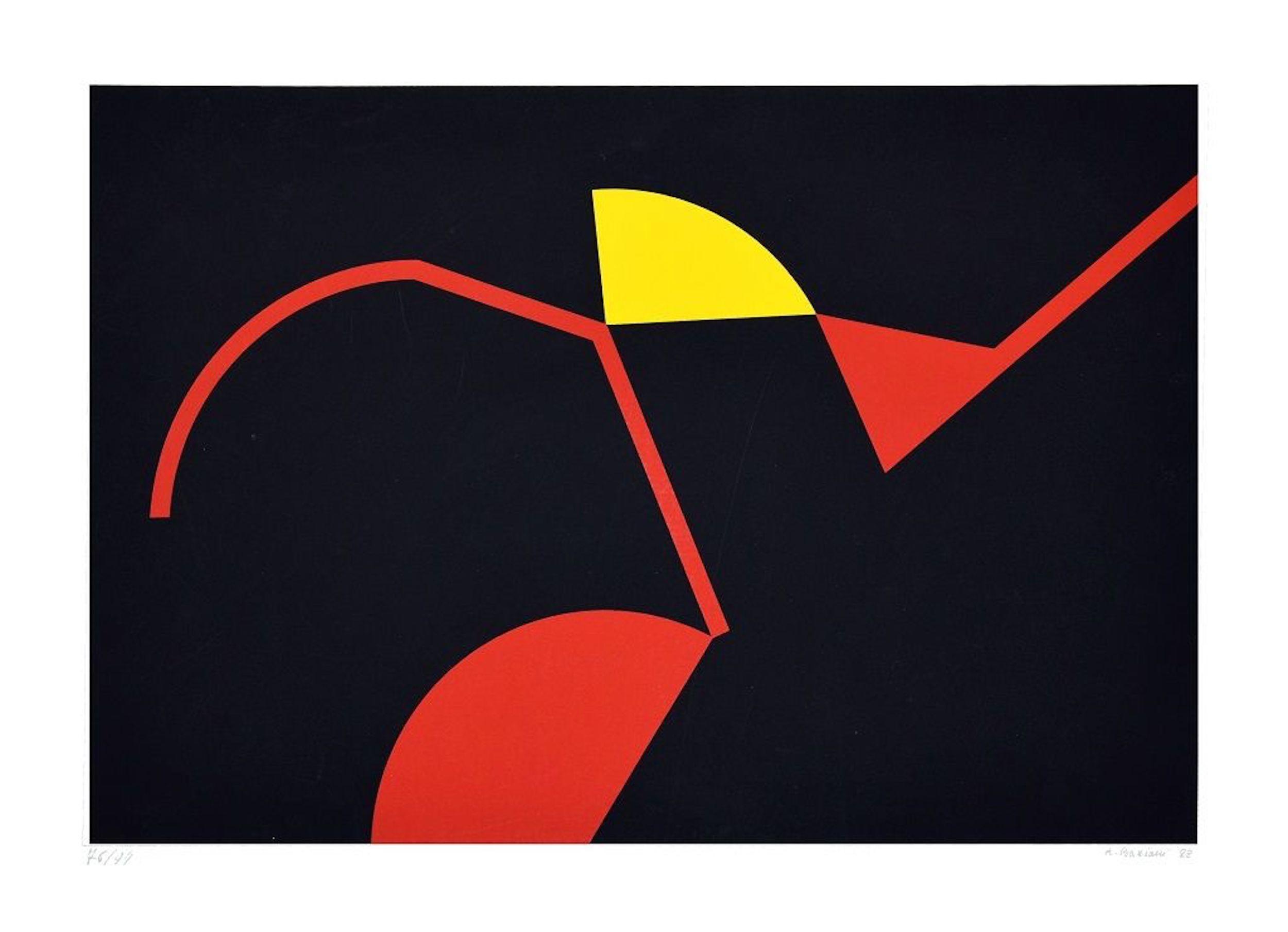 Tribal Colors - Original Screen Print by Renato Barisani - 1983