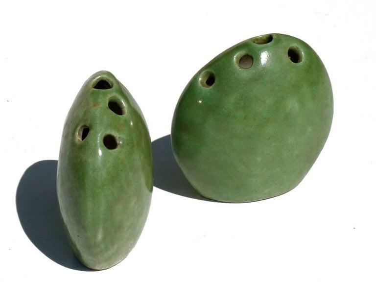 Mid-Century Modern Renato Bassoli by Il Sestante Italian Midcentury Green Pottery Sculptures For Sale