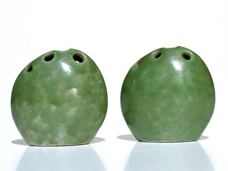 Glazed Renato Bassoli by Il Sestante Italian Midcentury Green Pottery Sculptures For Sale