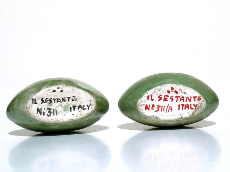 Renato Bassoli by Il Sestante Italian Midcentury Green Pottery Sculptures In Excellent Condition For Sale In Brescia, IT