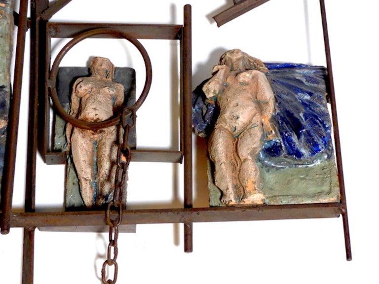 Enameled Renato Bassoli Midcentury Italian Sculpture For Sale