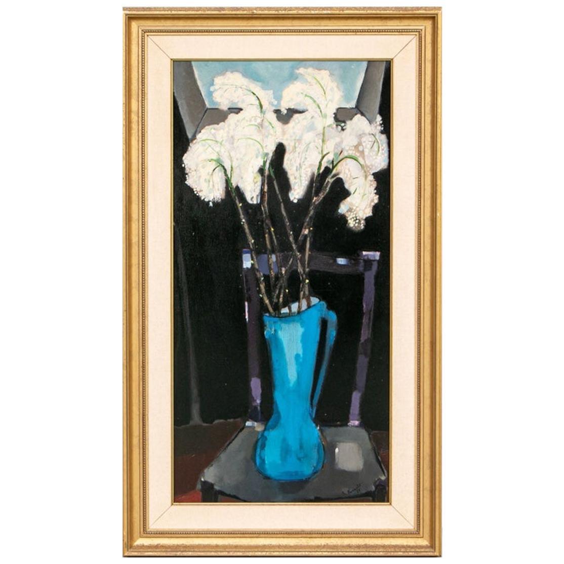 Renato Borsato 'Italian, 1927-2013' Midcentury Oil on Canvas of White Lillies