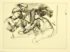 Homage to Caravaggio - Vintage Offset print after Renato Guttuso - 1980s