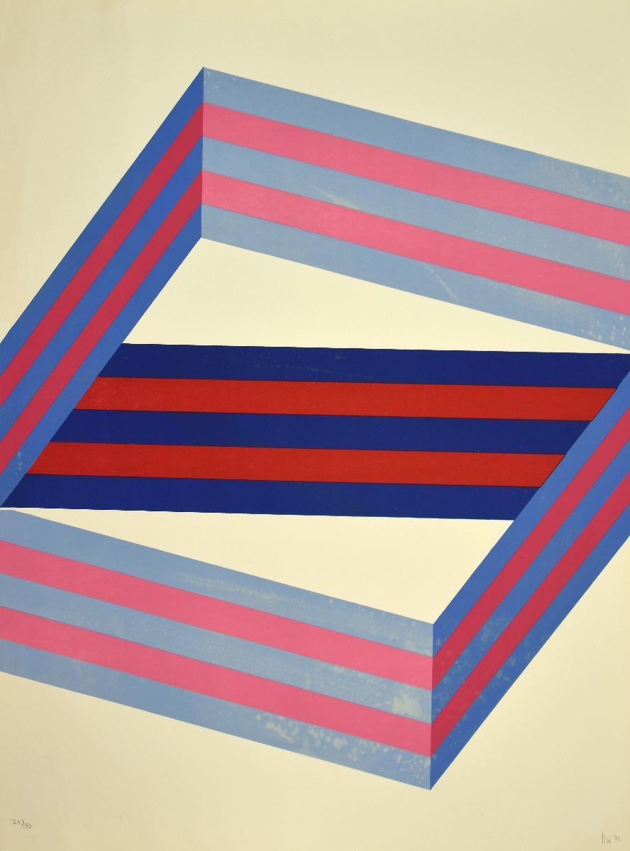 Abstract Composition - Original Lithograph by Renato Livi  - 1971