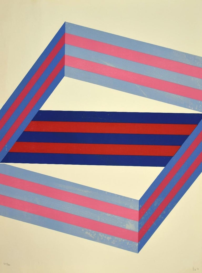 Abstract Composition is an original lithograph realized by Renato Livi in 1971.  Hand-signed.  Numbered edition, 129/150.  good conditions except for decoloring of some parts of the image.  Abstract composition on the tones of blue and red, a superb