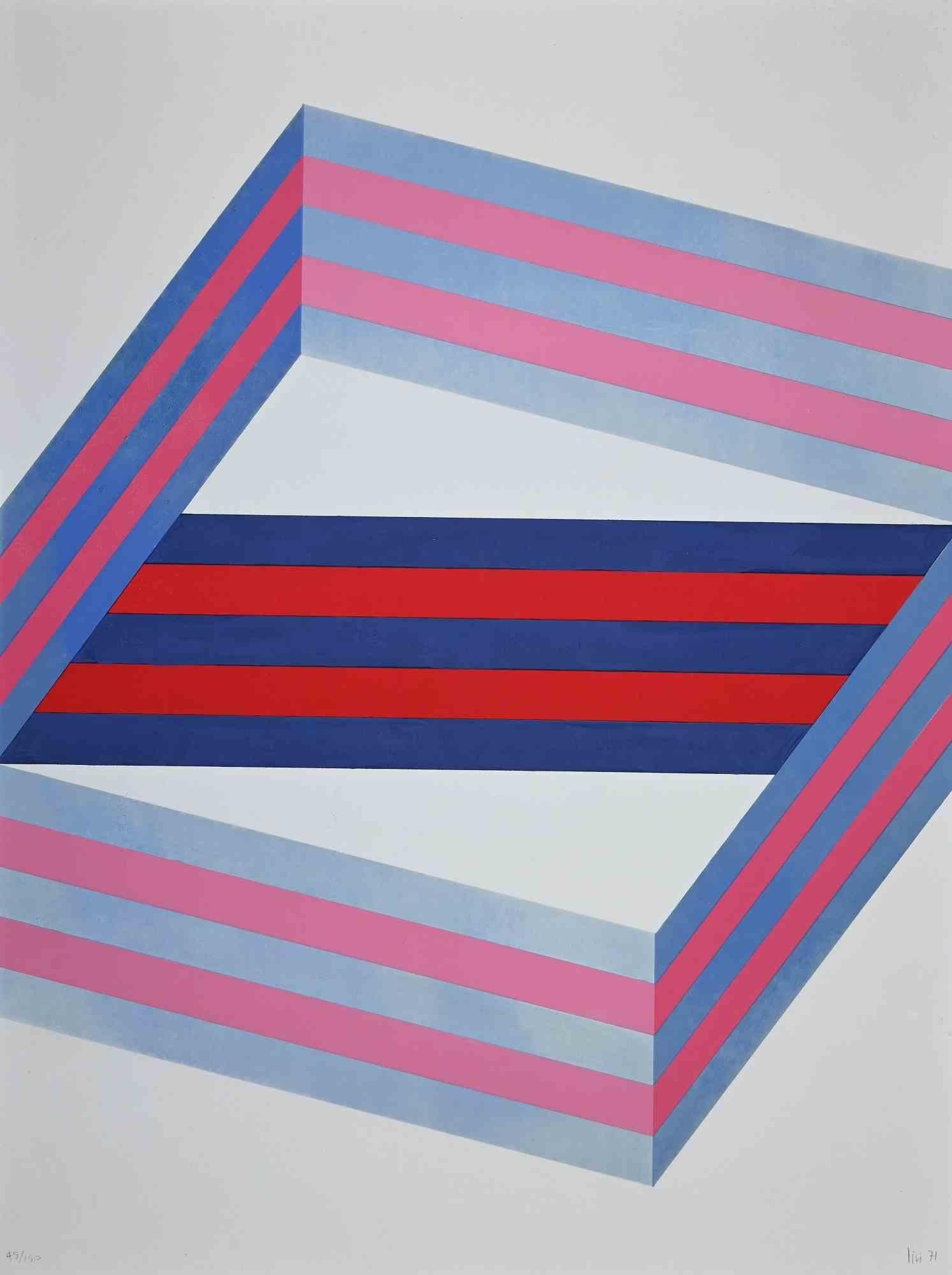 Striped Composition - Original Lithograph by Renato Livi  - 1971