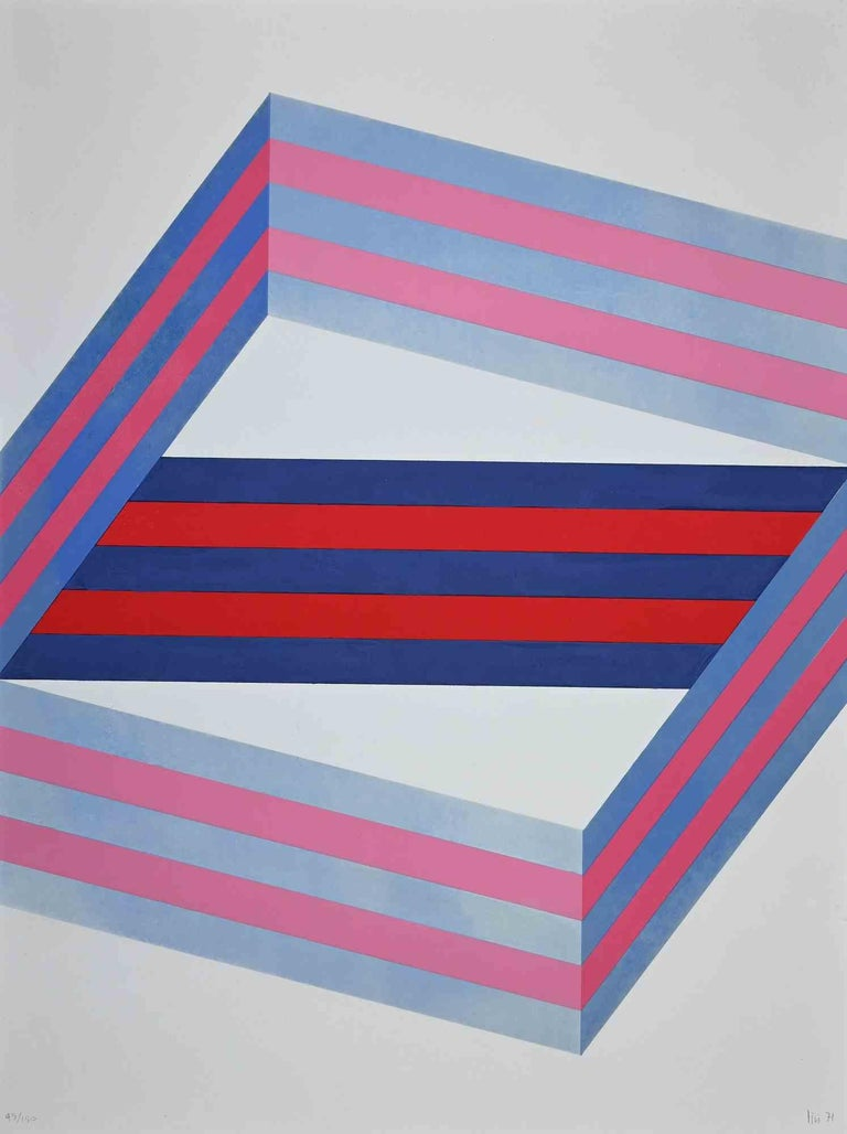 Striped Composition is an original lithograph realized by Renato Livi  in 1971.  Hand-signed and dated on the lower right margin.  Numbered on the lower left margin. edition, 45/150.  Good conditions except for decoloring of some parts of the image