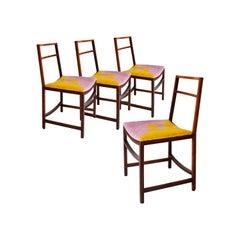 Renato Venturi Midcentury Yellow Lilac Italian Set of Four Chairs, Italy, 1960