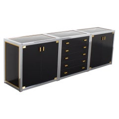 Renato Zevi Brass and Chrome Sideboard Consisting of Three Pieces, Italy, 1970s