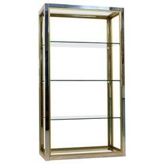 Renato Zevi Brass, Chrome and Glass Free Standing Shelving Unit