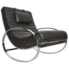 Renato Zevi Chrome and Leather Rocking Chair by Selig