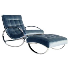Renato Zevi Chrome and Velvet Ellipse Rocking Chair and Ottoman