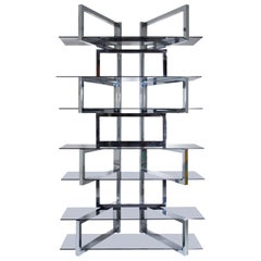 Renato Zevi Chrome Shelf, Italy, 1970s