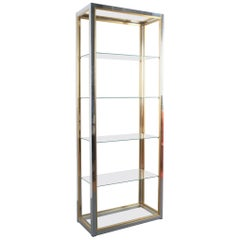 Renato Zevi Étagères Shelving Shelf Chrome and Brass Glass