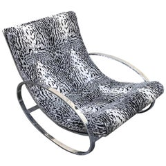 Renato Zevi White Tiger Pattern Fabric Chrome Rocking Chair for Selig Ellipse