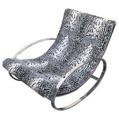 Renato Zevi White Tiger Pattern Fabric Chrome Rocking Chair for Selig Ellipse