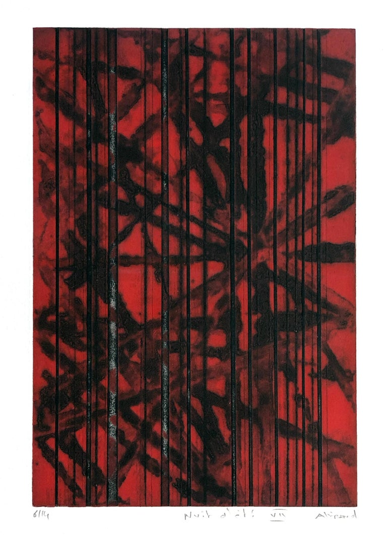 """The deeply etched lines and vibrant color of this print are common to Alliand's new """"haubans"""" prints. Haubans is french for a guy line - a tensioned cable designed to add stability to a free-standing structure like a ship's mast.   RENAUD ALLIRAND"""