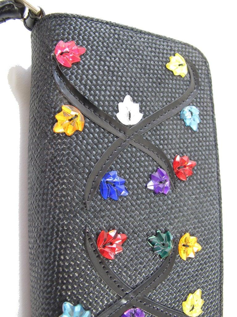 Black Renaud Pellegrino black raffia mini bag with jewel embellishments For Sale