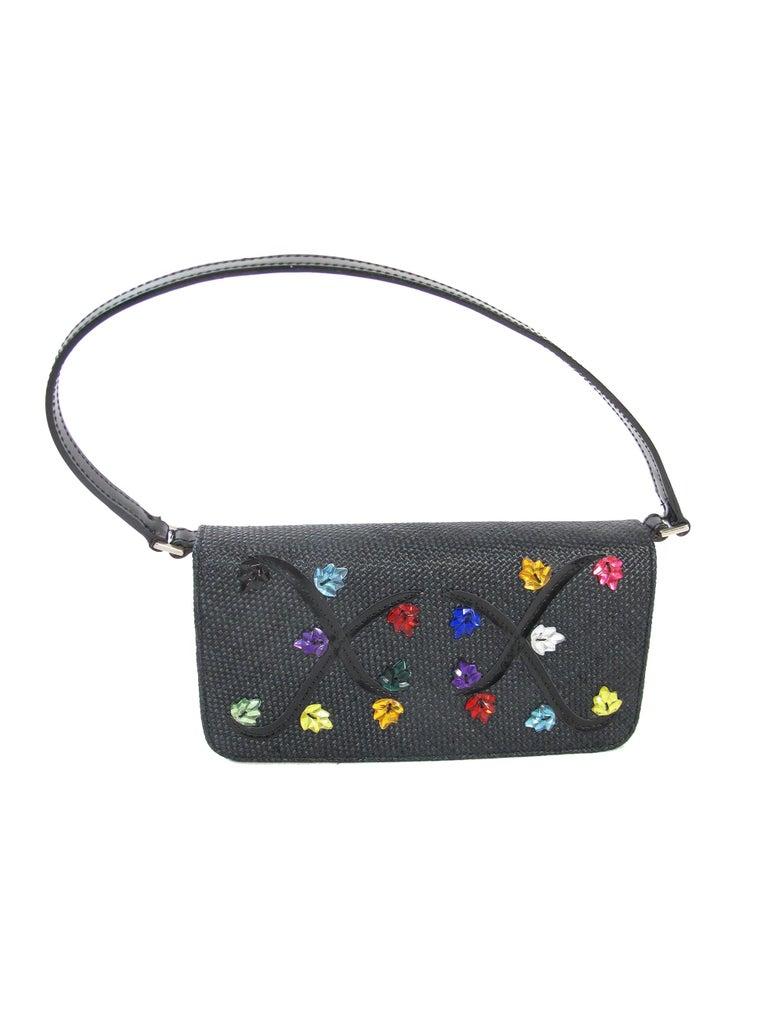 Women's Renaud Pellegrino black raffia mini bag with jewel embellishments For Sale