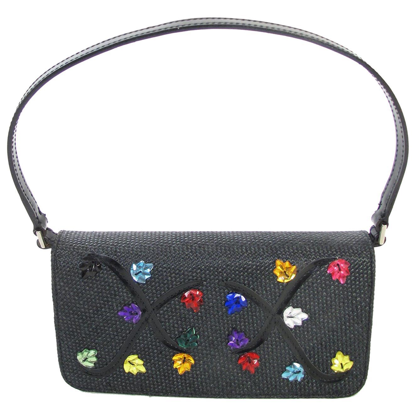 Renaud Pellegrino black raffia mini bag with jewel embellishments