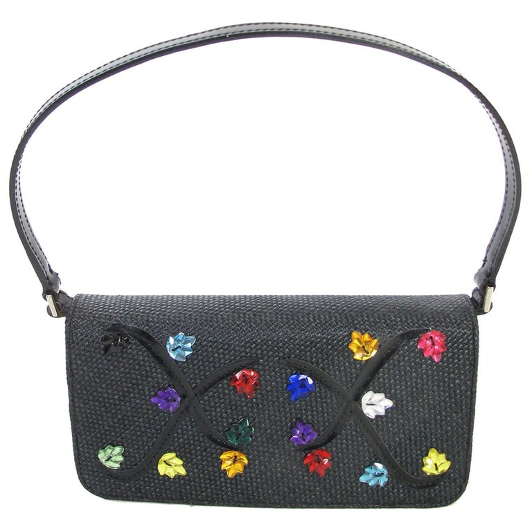 Renaud Pellegrino black raffia mini bag with jewel embellishments For Sale