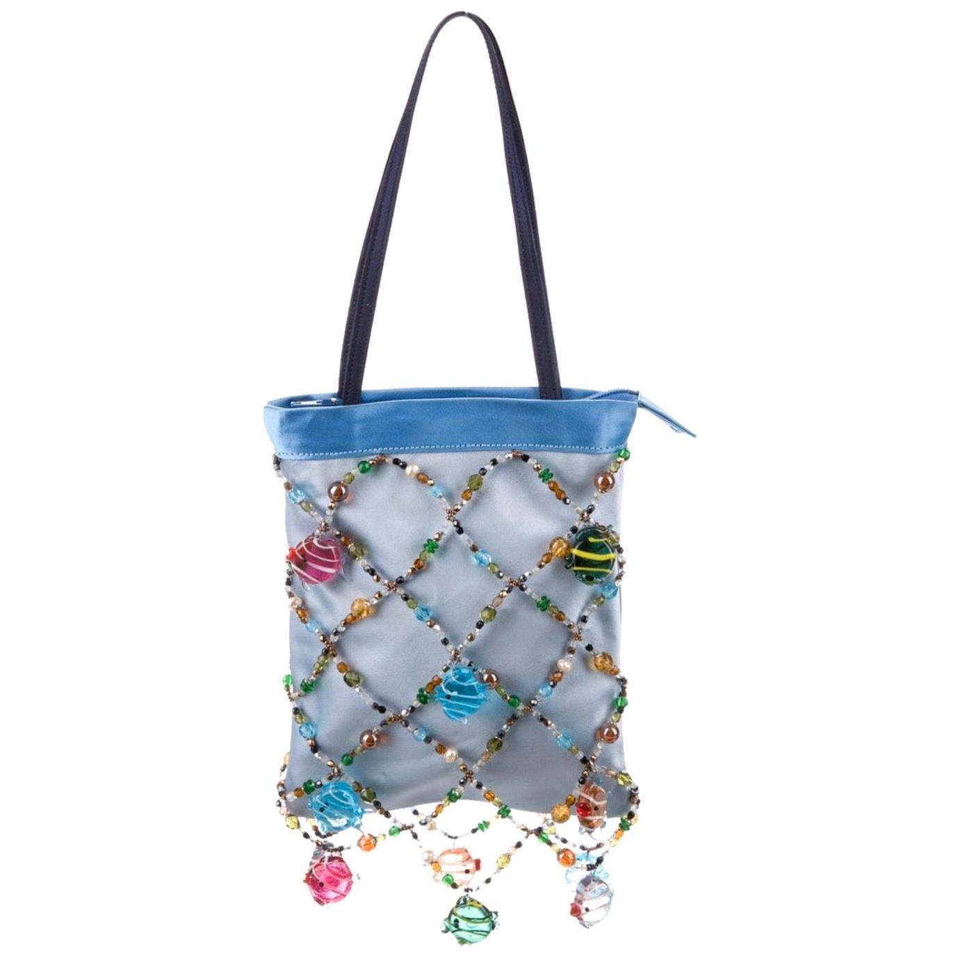 Renaud Pellegrino Blue Mini Silk Evening Bag with Glass Embellishments