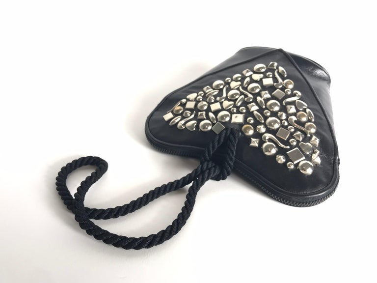 Renaud Pellegrino Heart Studded Wristlet In Good Condition For Sale In Austin, TX