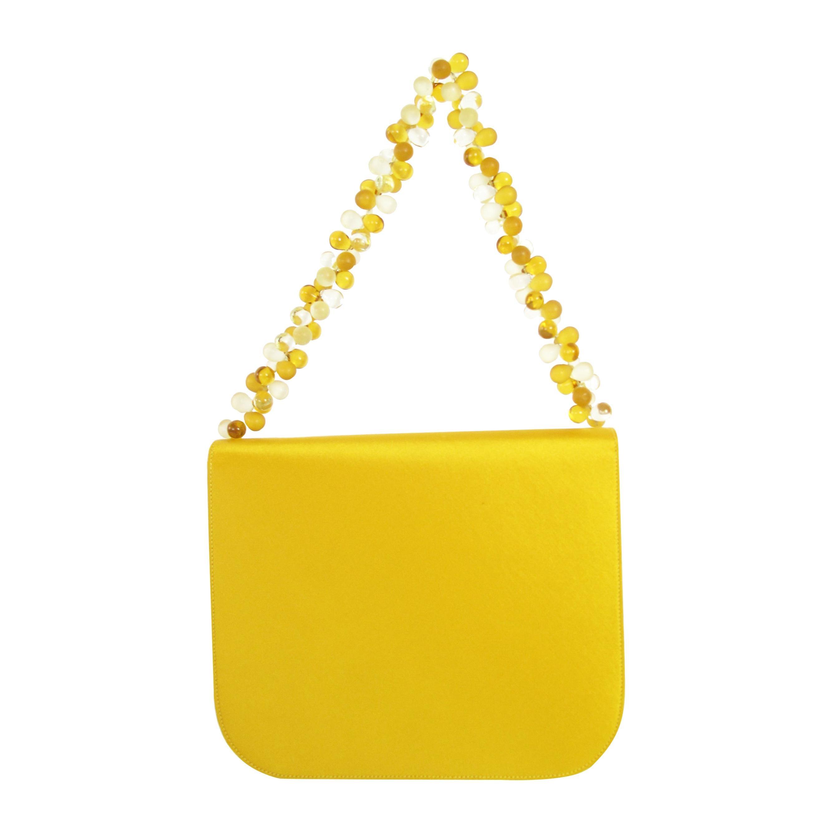 Renaud Pellegrino Yellow Satin Flap Bag with Beaded Handle