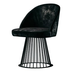 Rendez-Vous Chair in Black Split Leather and Matte Black Metal