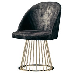 Rendez-Vous Chair in Black Split Leather and Polished Brass