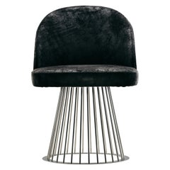 Rendez-Vous Chair in Black Split Leather and Polished Steel Metal