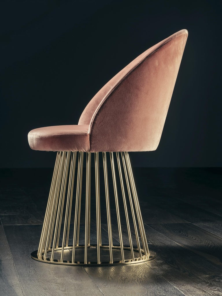 Art Deco Rendez-Vous Chair in Pink Velvet and Polished Brass For Sale