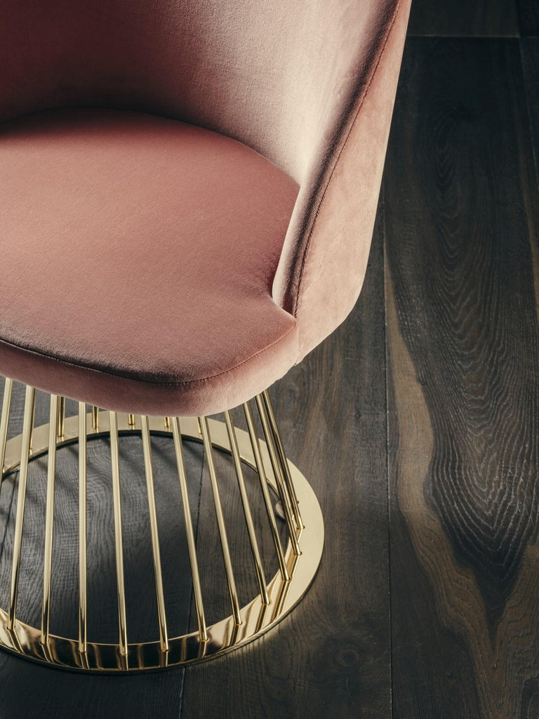 Italian Rendez-Vous Chair in Pink Velvet and Polished Brass For Sale
