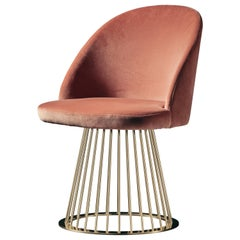 Rendez-Vous Chair in Pink Velvet and Polished Brass
