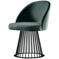 Rendez-Vous Chair in Turquoise Smooth Velvet and Matte Black Metal