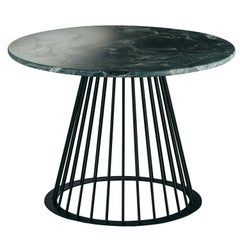 Rendez-Vous Coffee Table in Green Marble and Matte Black Metal