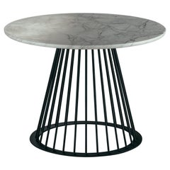 Rendez-Vous Coffee Table in White Marble and Matte Black Metal