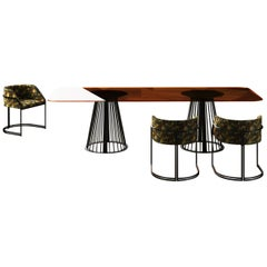 Rendez-Vous Linear Dining Table Amber Glass Top