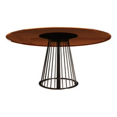 Rendez-Vous Round Dining Table Amber Glass Top