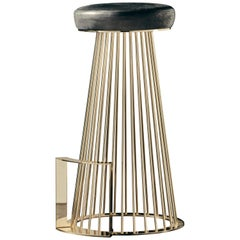 Rendez-Vous Stool in Black Aniline Leather and Polished Brass