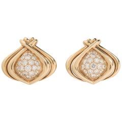 Rene Boivin 18 Karat Yellow Gold and Diamond Ear Clips