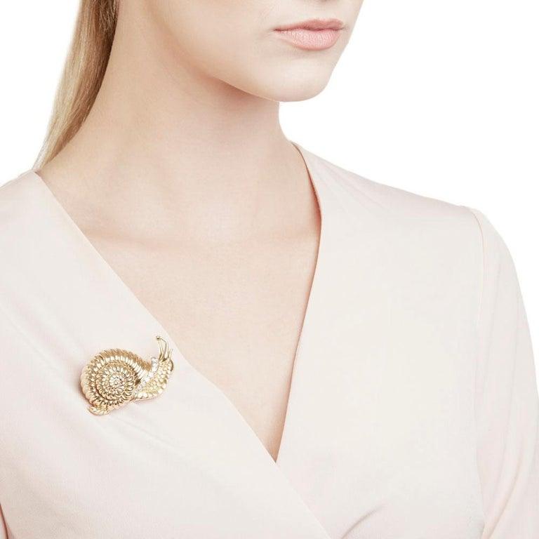 Rene Boivin 18 Karat Yellow Gold Diamond Vintage Snail Brooch For Sale 4