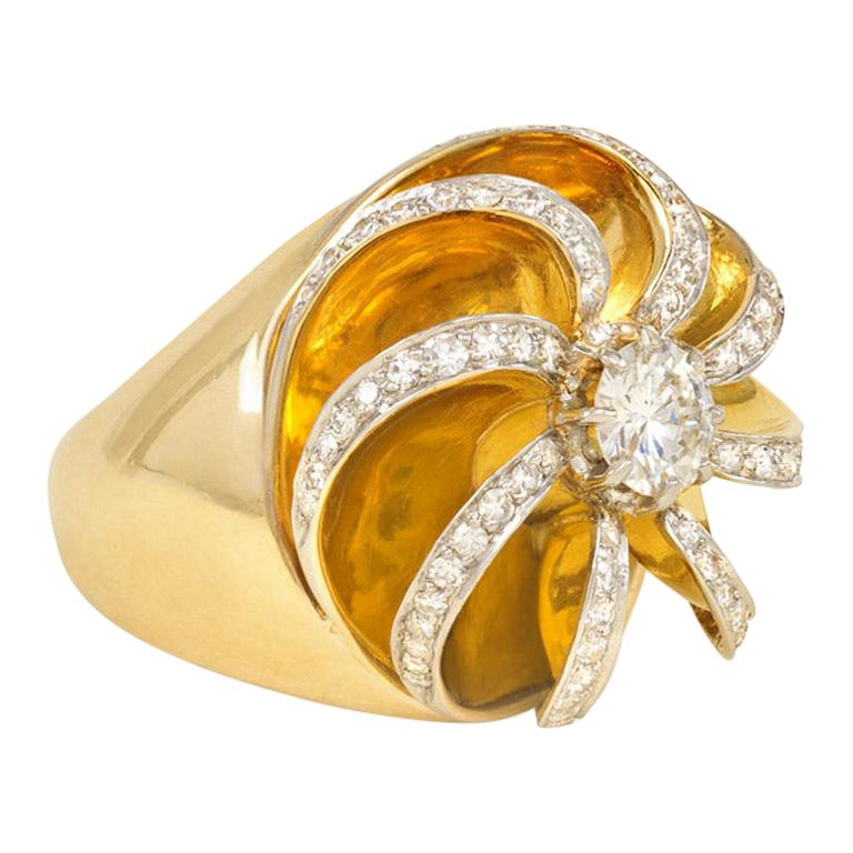 René Boivin 1950s Gold and Diamond Sculptural Ring