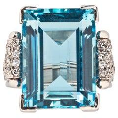René Boivin Aquamarine and Diamond Ring, Circa 1935