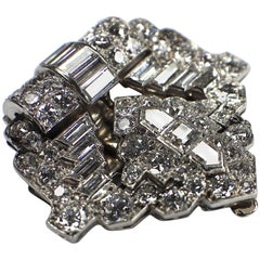 GEMOLITHOS, Art Deco Diamond Clip Brooch, Rene Boivin, 1925.