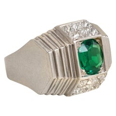 René Boivin Art Deco Emerald Diamond Platinum Ring