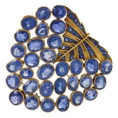 """René Boivin Art Deco Gold and Sapphire """"Feuille"""" Brooch"""